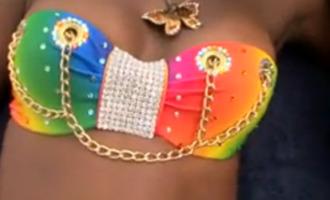 swimwear multicolor chain strass paillettes l