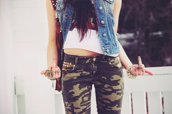 pants jacket camouflage denim jeans camo pants top jewels