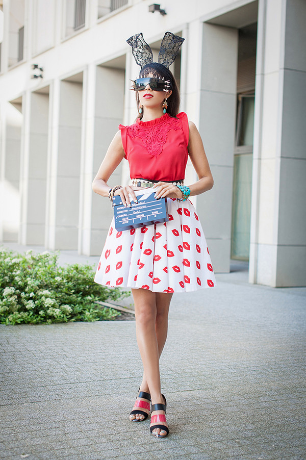 macademian girl top skirt shoes bag sunglasses belt jewels