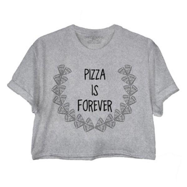 shirt pizza top pizza shirt pizza t-shirt top crop tops spikes and seams crop tops gray crop tee grey grey t-shirt