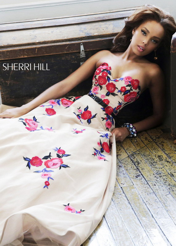 Red Floral Embroidered Nude Long Strapless Sherri Hill 21340 Gown [Sherri Hill 21340 Nude] - $375.00 : Prom Dresses 2014 Sale, 70% off Dresses for Prom
