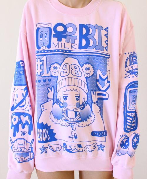 sweater pullover pink blue cute milkbbi sweatshirt kawaii pastel korean fashion kfashion pink sweater girl oversized pale girly japanese anime K-pop creepy cute grunge asian kawaii fashions style fluffy gorgeous cozy warm fabric t-shirt pastel pink milky jumper kawaii grunge harajuku pastel grunge top purple