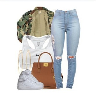 jacket camouflage purse michael kors purse brown bag jeans denim pants knee ripped pants ripped jeans torn pants ripped pants nike shoes shoes sneakers ootd dope trill summer pants white bra bra camo jacket michael kors nike sports bra white sports bra sportswear sports bra ripped knee jeans nike air force 1 air max tumblr outfit summer outfits underwear bag shirt