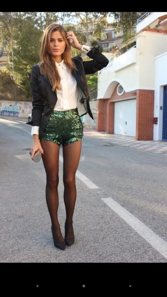 shorts green sparkly shorts black blazer white dress shirt jacket