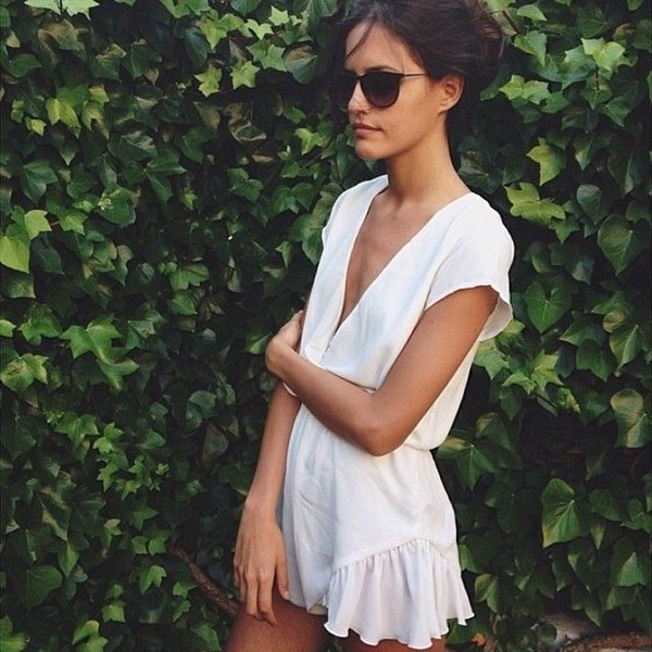 romper romper jumpsuit white dress summer summer dress lwd dress