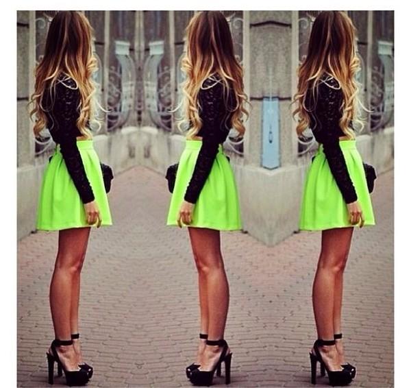 skirt neon green skirt short skirt