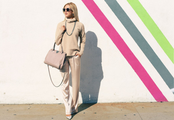 peace love shea blogger pants bag sunglasses beige sweater shoes jewels