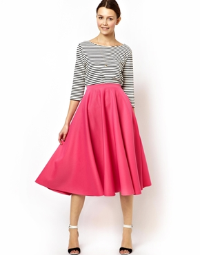 ASOS | ASOS Full Midi Skirt in Scuba at ASOS