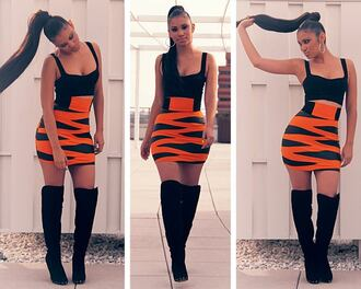 skirt red bodycon skirt high waisted skirt swag clothes dress shoes animal print tiger print orange clubwear