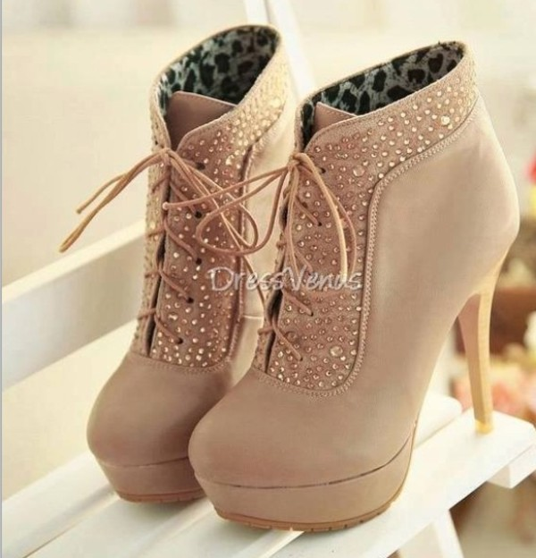 shoes heels diamontes tan lace up booties sequins