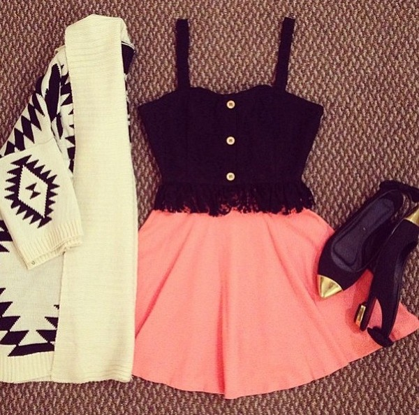 jacket tank top shoes tribal cardigan skirt everything pink black cute sexy today black lace top pink skirt