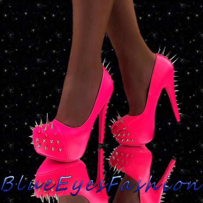 Luxus High Heels Neon Pink Pumps Killernieten Stachel Plateau Sexy Partyschuhe   High-Heels-Tempel