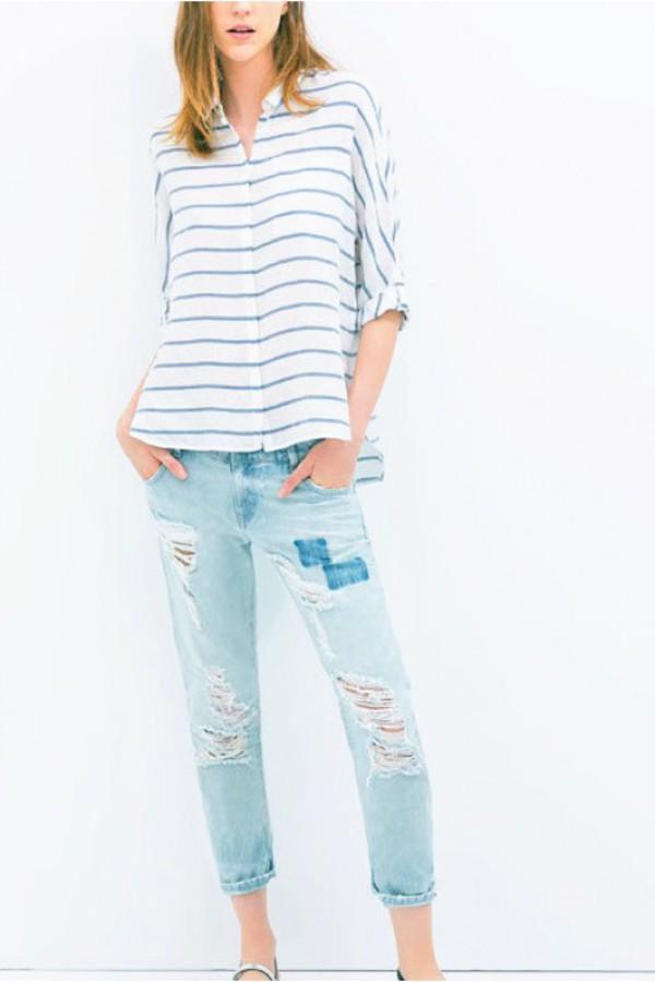 blouse striped tee striped blouse kcloth button jeans