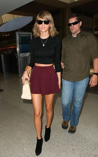 skirt top sunglasses ankle boots taylor swift shoes