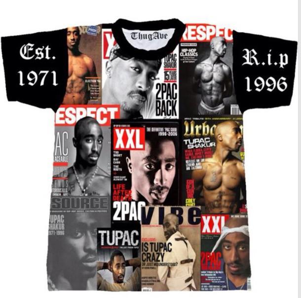 shirt black shirt tupac thug life white