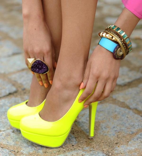 shoes high heels yellow neon jewels