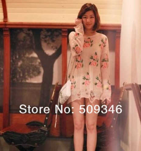 Fashion Women Ladies Pullover Floral Distressed Frayed Jumper Hole Knitwear Sweater Long Sleeve Spring Autumn Pink White Free-in Pullovers from Apparel & Accessories on Aliexpress.com