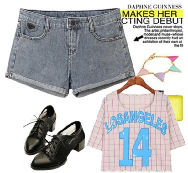 shorts denim denim shorts jeans denim shorts summer shoes t-shirt shirt band t-shirt