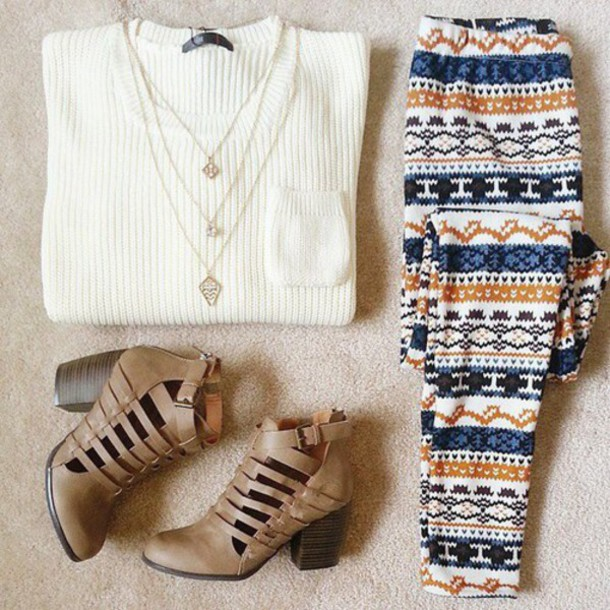 pants joggers orange patter ankle length sweater leggings winter outfits printed pants knitted sweater shoes necklace pullover patterned pants printed leggings