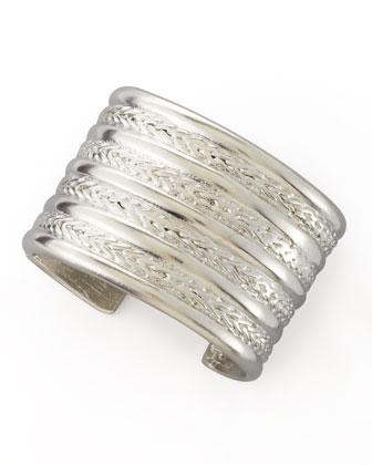 Kenneth Jay Lane Braided Silver-Plate Cuff Bracelet