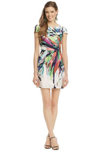 dress white dress cap sleeves crewneck open back dresses open back pencil dress colorful dress paint splatter short dress