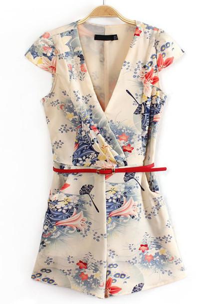 jumpsuit japan kimono short sleeve belt