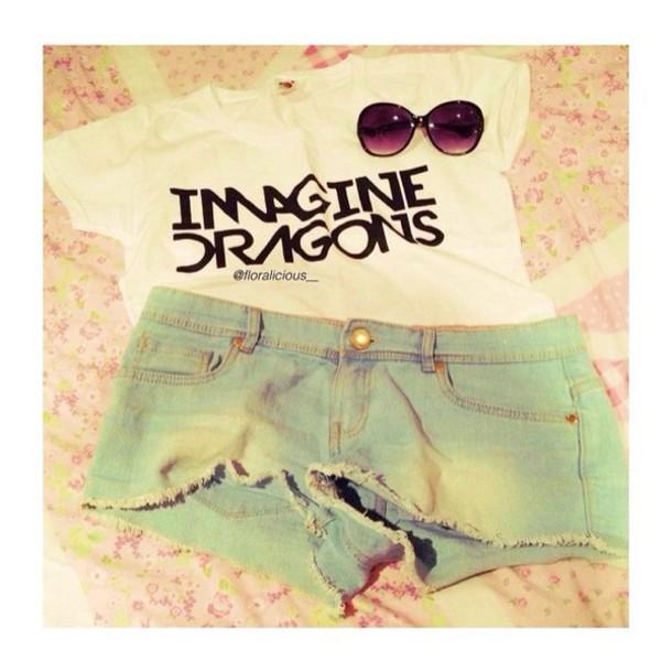 t-shirt t-shirt shirt style band t-shirt imagine dragons shirts shorts