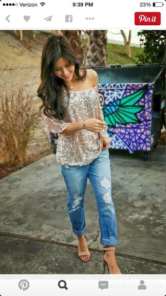 blouse blush colored sequin
