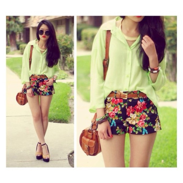 bag shorts blouse shoes jewels floral skirt blue skirt cute shorts