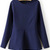Royal Blue Long Sleeve Slim Ruffle Blouse - Sheinside.com