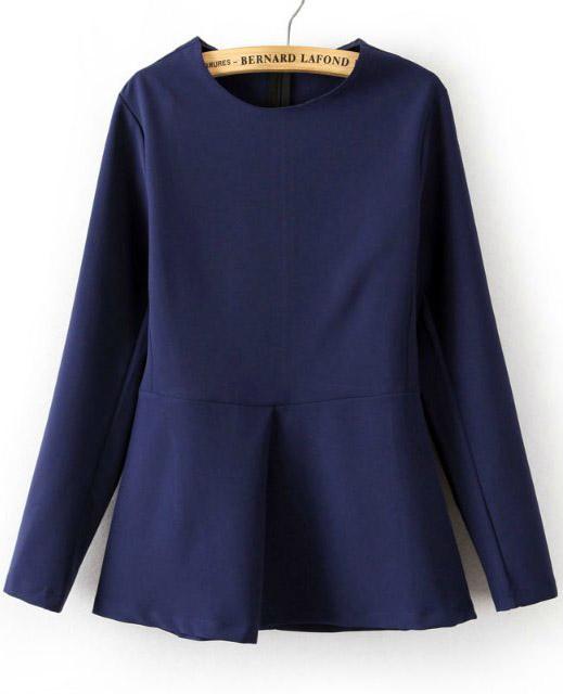 Royal Blue Long Sleeve Slim Ruffle Blouse - Sheinside.com