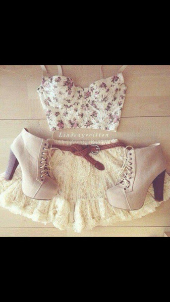 skirt clothes lace skirt floral bustier heeled booties top shoes platform lace up boots