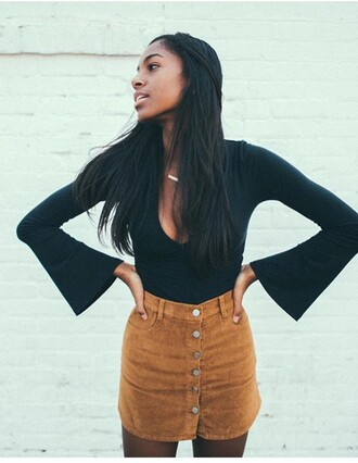 shirt black cute outfit skirt caramel v neck winter outfits perfect warm stylish style