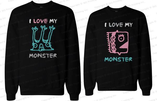 matching sweatshirts couple sweaters matching couple sweatshirts couple matching couples i love my monster monster shirts couple sweaters couple sweaters bf and gf