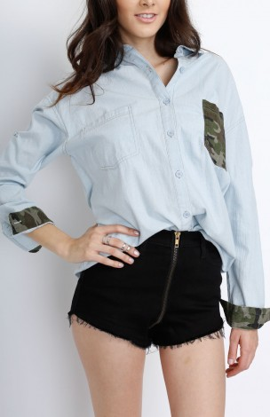 Camo Chambray Button Down Top — Gatzino