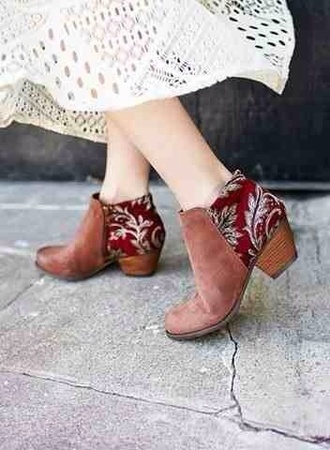 shoes tribal pattern booties boots low heel
