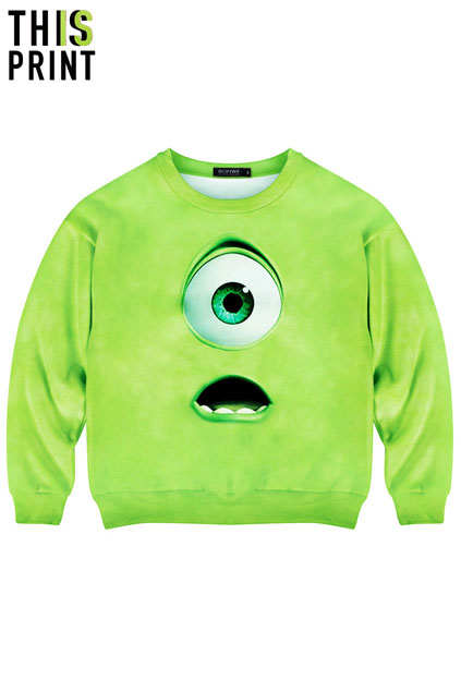 ROMWE   Green Monster Print Sweatshirt, The Latest Street Fashion