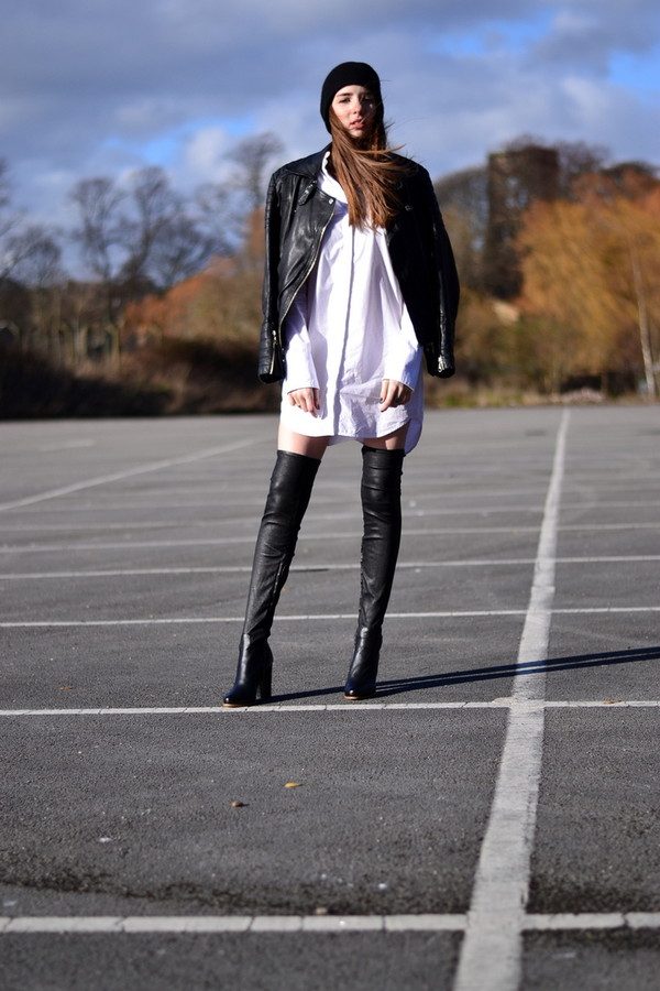 shot from the street shoes shirt dress jacket hat