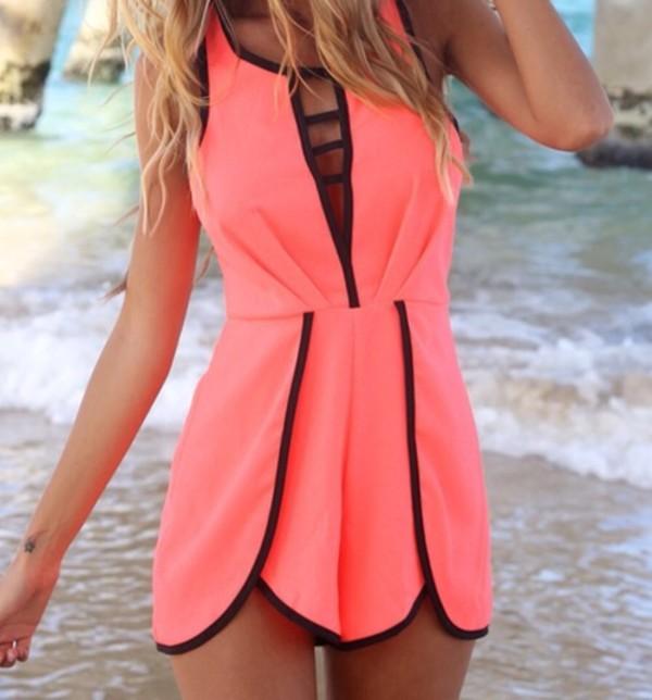 dress pink black short jumpsuit sexy cute cut-out