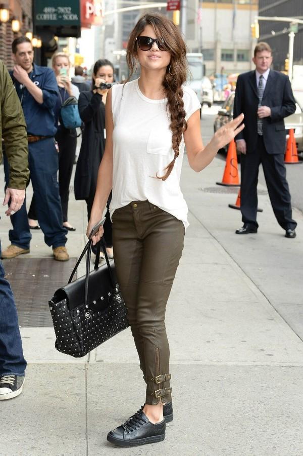 jeans clothes shoes bag t-shirt khaki pants casual selena gomez white vest white top