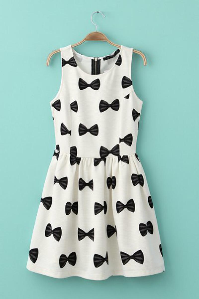 2014 Spring & Summer New Bowknots Pattern Zipper Dress,Cheap in Wendybox.com