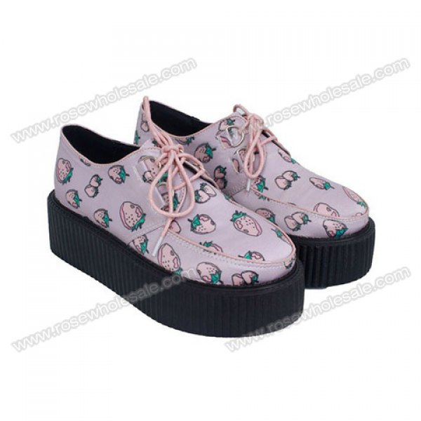 Wholesale Sweet Women's Creepers Shoes With Strawberry Print and Lace-Up Design (PINK,35), Platform - Rosewholesale.com