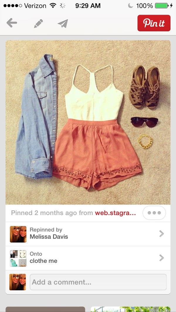 blouse top shorts tank top pink