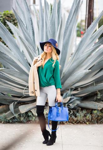 angel food blogger jeans bag blue felt hat thigh high boots green blouse camel coat