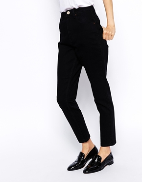 ASOS   ASOS Farleigh High Waist Slim Mom Jeans in Clean Black at ASOS