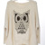 Pretty Beige Owl Knit Pullover - Designer Shoes|bqueentrade.com