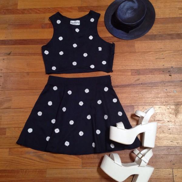 dress matching set twosie daisy set vintage her pony herpony festival summer crop tops