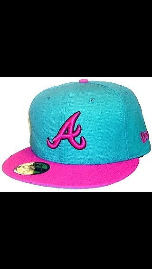 hat Atlanta Braves teal pink