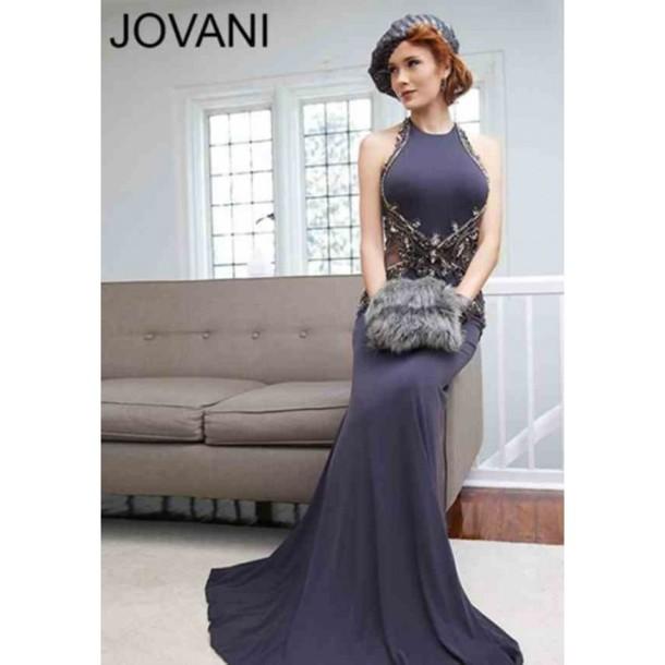 dress jovani 92992 grey halter neck clothes beading jovani prom dress