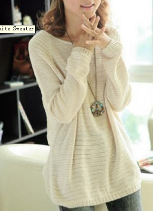 Beige Loose Bat Sleeve Hollow Sweater on Luulla